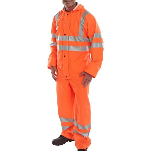 BSeen Orange Hi Vis Waterproof PU Coverall